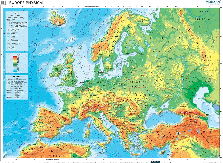 Europe physical map   mapa ścienna w języku angielskim